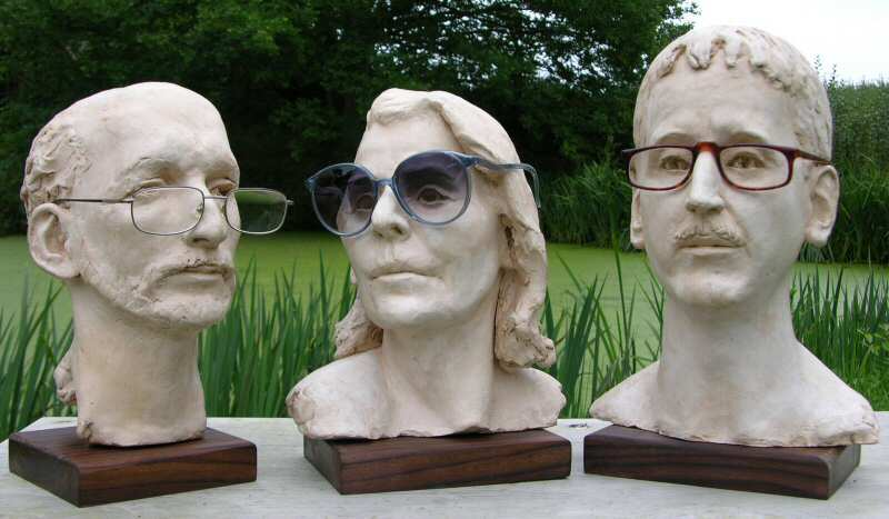Sample display busts shown here in terra cotta