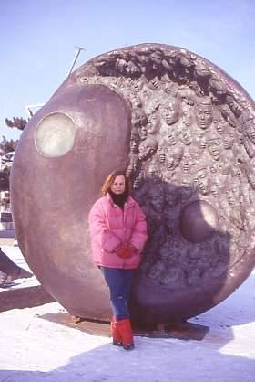 Laury beside sculpture in January 2002