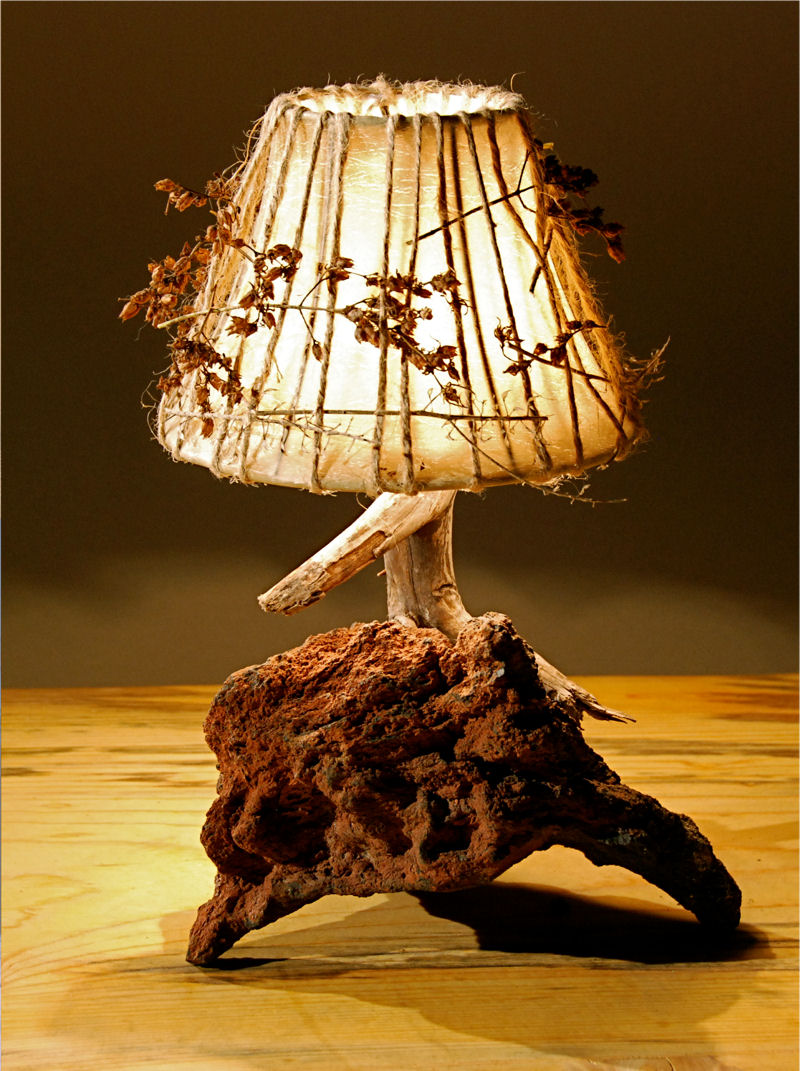 Handmade lampshade and handmade lamp: a rustic light that will compleemnt your decor