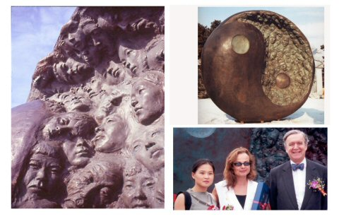A few images of the monumental East Meets West public sculpture